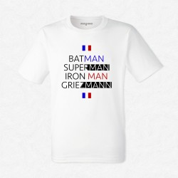 T-Shirt Homme Blanc Foot Batman, Superman, Iron Man, Griezmann