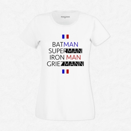T-Shirt Femme Blanc Foot Batman, Superman, Iron Man, Griezmann