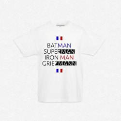 T-Shirt Enfant Blanc Foot Batman, Superman, Iron Man, Griezmann