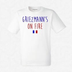 T-Shirt Homme Blanc Foot Griezmann's on fire