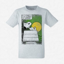 T-Shirt Homme Gris Snoopy i'm allergic to morning