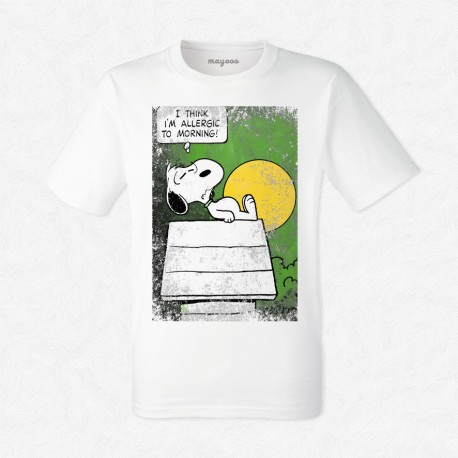 T-Shirt Homme Blanc Snoopy i'm allergic to morning