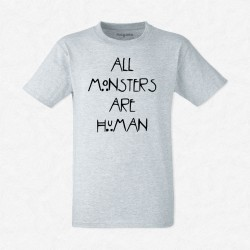 T-Shirt Homme Gris All monsters are human
