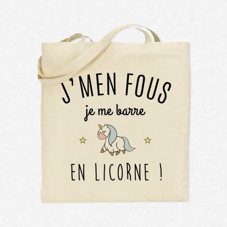 Tote Bag J'men fous je me barre en licorne !