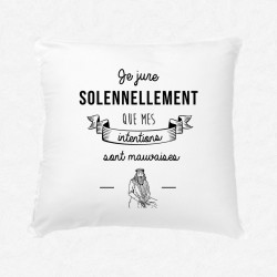 Coussin Mes intentions sont mauvaises