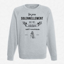 Sweat Gris Mes intentions sont mauvaises