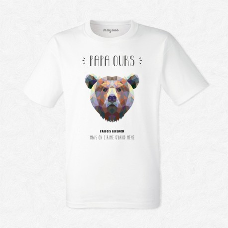 T-Shirt Homme Blanc Papa Ours - mayooo |