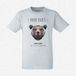 T-Shirt Homme Gris Papa Ours
