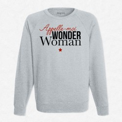 Sweat gris Appelle moi wonder woman