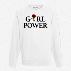 Sweat Blanc Girl Power Rose Rouge