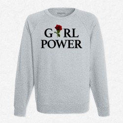 Sweat gris Girl Power Rose Rouge