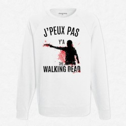 Sweat Blanc J'peux pas y'a The Walking Dead
