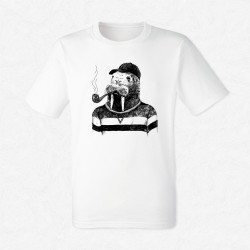 T-Shirt Homme Blanc Walrus in hipster style