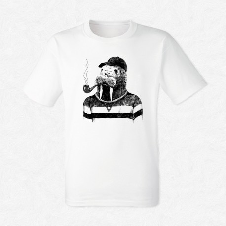 T-Shirt Blanc Homme Walrus in hipster style