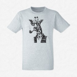 T-Shirt Homme Gris Girafe hipster fume la pipe