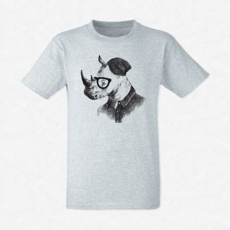 T-Shirt Gris Homme Rhino in hipster style
