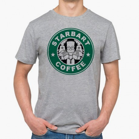 Starcoffee Gris Shirt Gens MayoooShirts T Pour Cool Accesoires Homme Bart Simpson Et NOwn0vm8