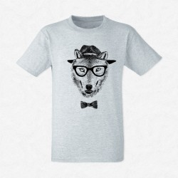 T-Shirt Homme Gris Dressed up wolf