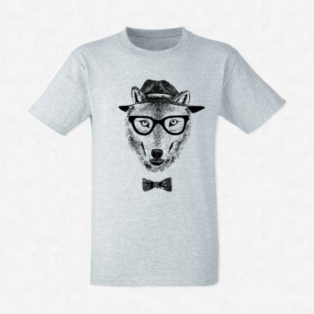 T-Shirt Gris Homme Dressed up wolf
