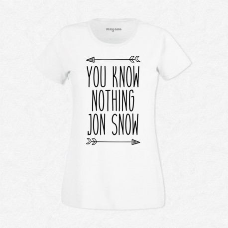 T-Shirt Femme Blanc Game of Thrones You Know Nothing Jon Snow