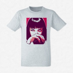 T-Shirt Homme Gris Pulp fiction Uma Thurman