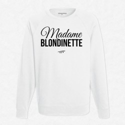 Sweat Blanc Madame blondinette