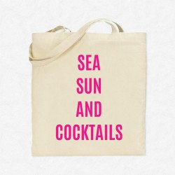 Tote Bag Vacances Sea, sex and cocktail