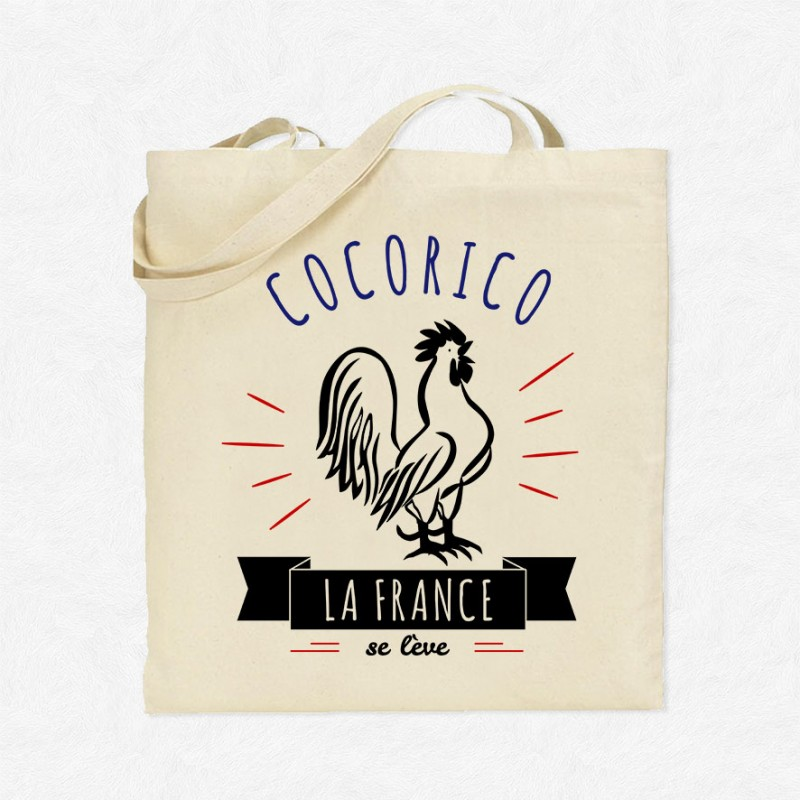 tote bag cocorico la france se l ve mayooo t shirts et accesoires cool pour gens cool. Black Bedroom Furniture Sets. Home Design Ideas